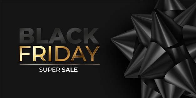 Realistic black friday banner with black bow