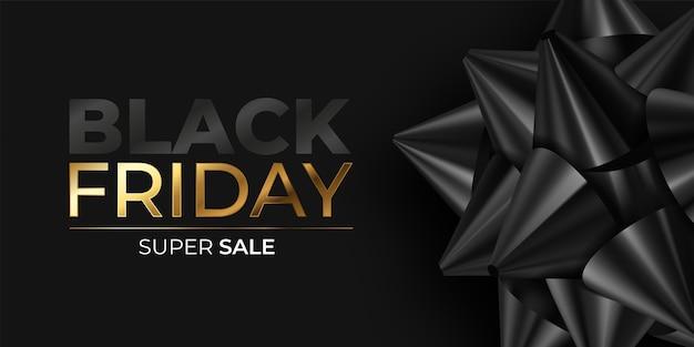 Banner realistico del black friday con fiocco nero
