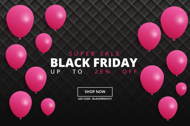 Realistic black friday banner with presents and balloons