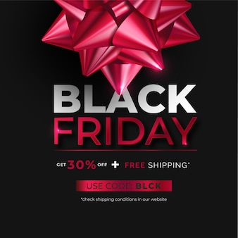 Realistic black friday banner with red bow