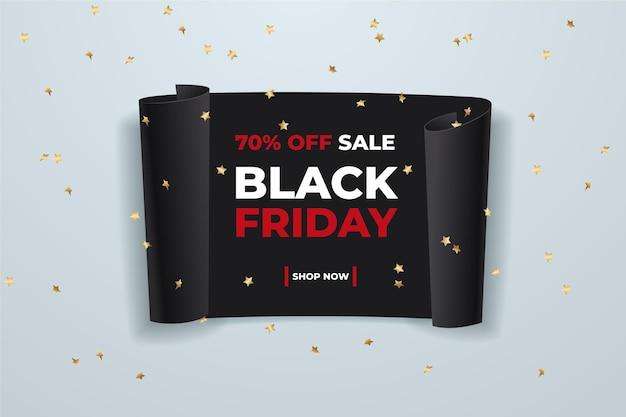 Realistic black friday concept