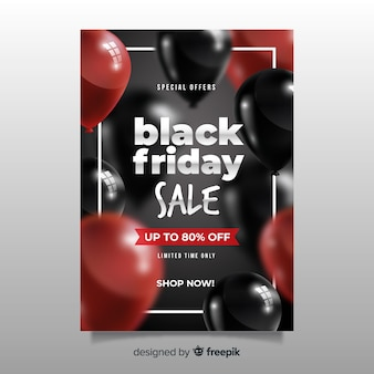 Realistic black friday flyer template