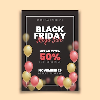 Realistic black friday flyer with balloons