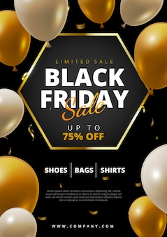 Realisticblack friday flyer with balloons