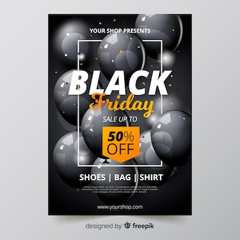 Realistic black friday flyer