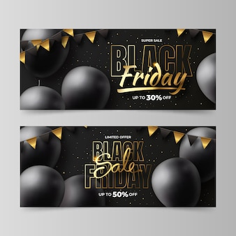 Realistic black friday horizontal banners set