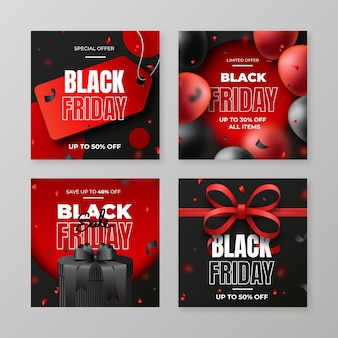 Realistic black friday instagram posts collection