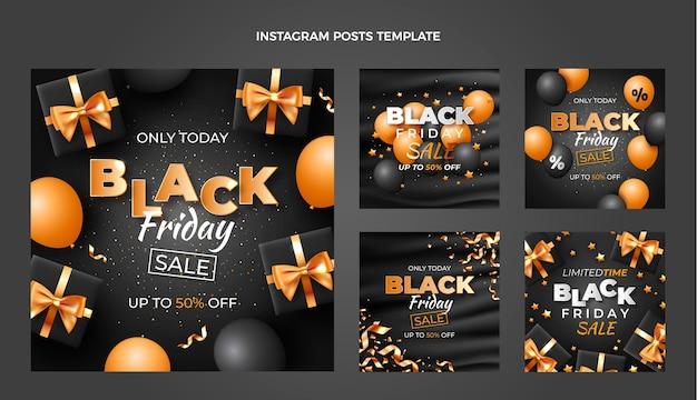 Raccolta realistica di post di instagram del black friday