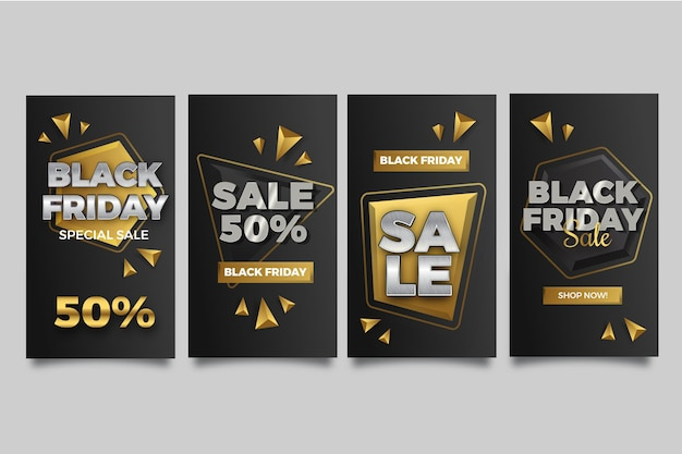 Realistic black friday instagram stories collection