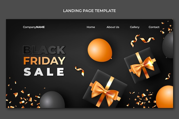 Realistic black friday landing page template