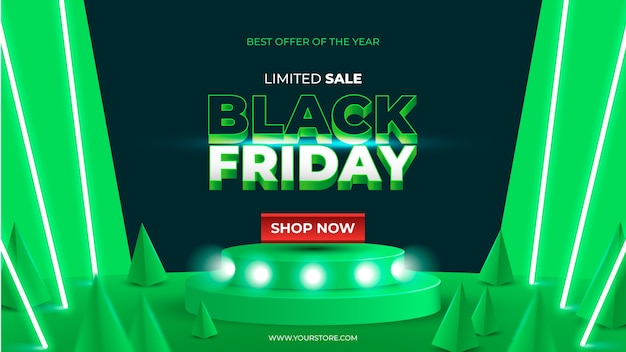 Realistic black friday limited sale banner with green neon