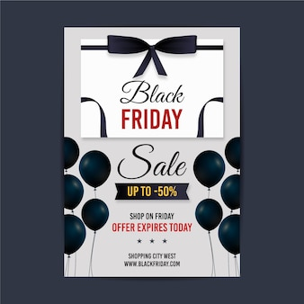 Realistic black friday poster template