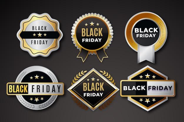 Реалистичная коллекция значков распродажи черной пятницы