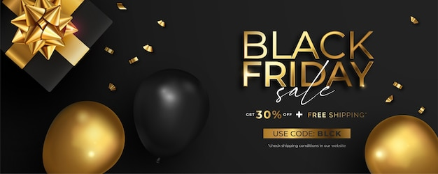 Realistic black friday sale banner in black and golden