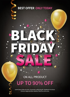 Realistic black friday sale banner or poster decorated with balloons and confetti