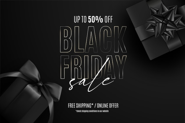 Realistic black friday sale banner with presents