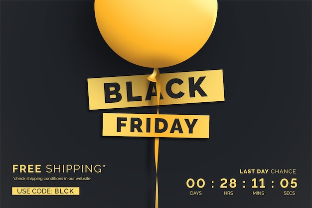 Realistic black friday sale banner with yellow balloon