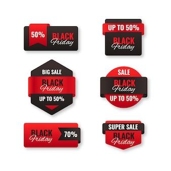 Реалистичная коллекция распродаж черной пятницы