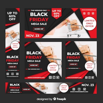 Realistic black friday sale web banner set with shopping cart