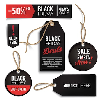 Realistic black friday sales tags set.