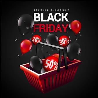 現実的な黒い金曜日のショッピングバスケットと風船