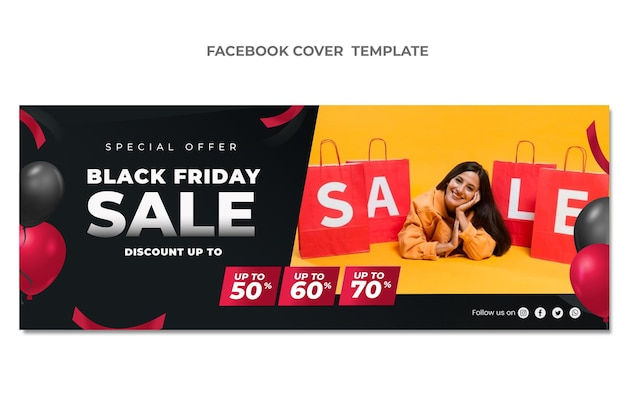 Realistic black friday social media cover template