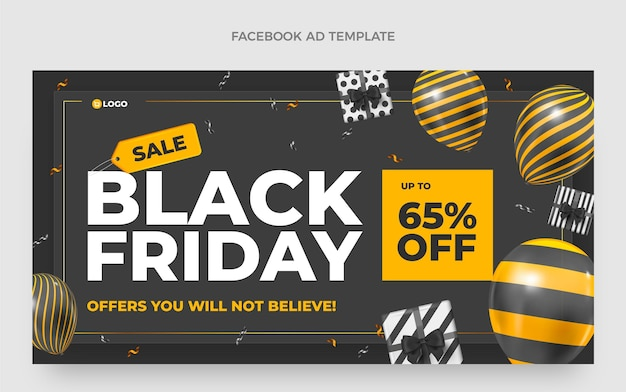 Realistic black friday social media promo template with black and gold balloons
