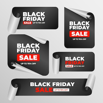 Realistic black friday stickers collection