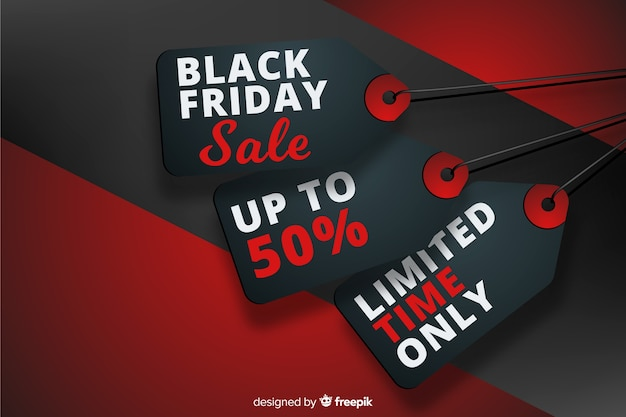 Realistic black friday tags with discounts