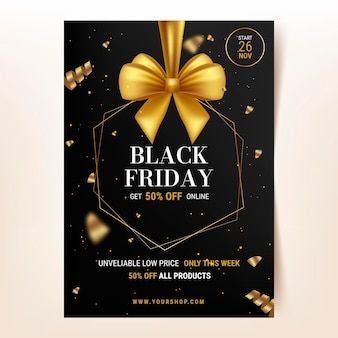 Realistic black friday vertical poster template