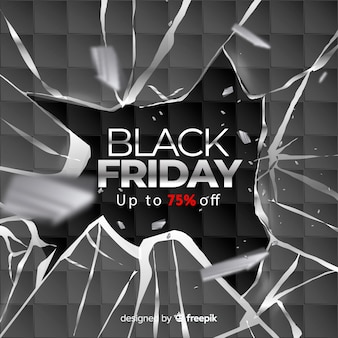 Realistic black friday with broken glass
