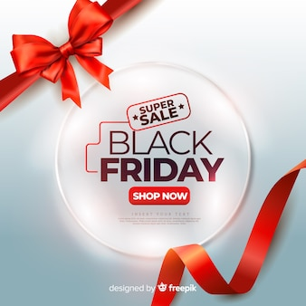 Realistic black friday with red cute ribbons