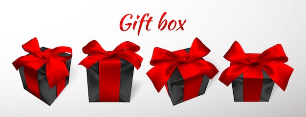 Realistic black gift box with red bow isolated