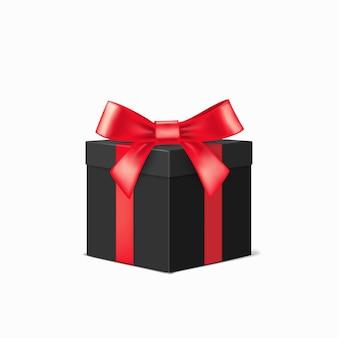 白い背景の上に赤いリボンが付いたリアルな黒のギフトボックス。クリスマスデザインイラスト