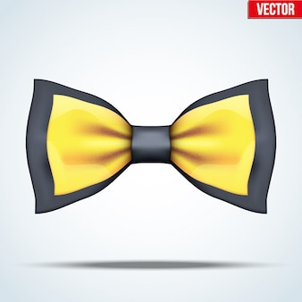 Realistic black and gold bow tie