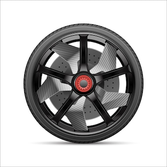 Realistic black gray car wheel alloy with tire.
