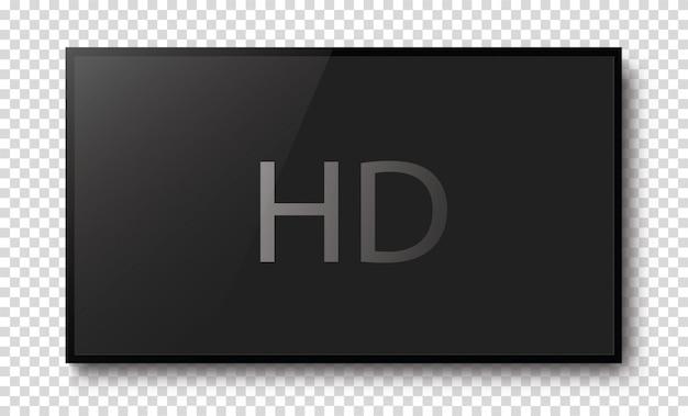 Realistic black hd television screen