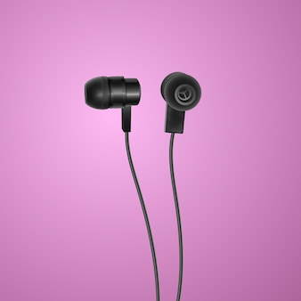 Realistic, black headphones on colorful background
