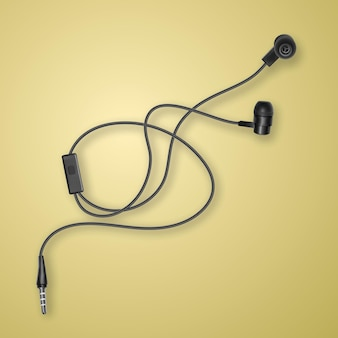 Realistic, black headphones on colorful background,