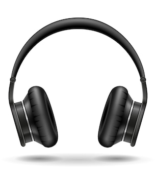 白地にリアルな黒のヘッドフォン