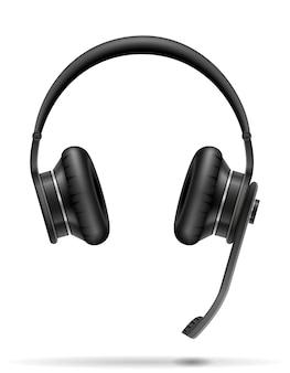 Realistic black headphones on white
