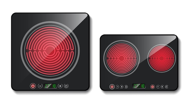 Realistic black induction cooktops or glass-ceramic cooking panels, hobs with one and two hea