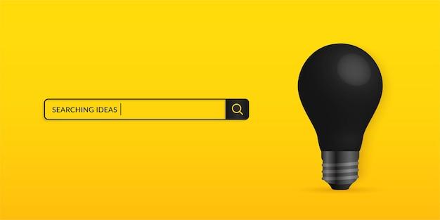 노란색 배경에 격리된 현실적인 검은색 전구, 아이디어 개념 검색