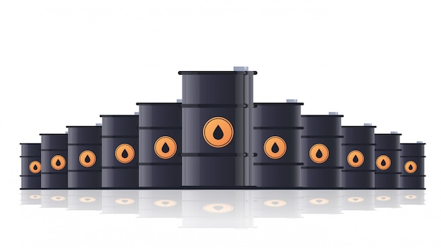 Realistic black metal petroleum barrels oil industry concept isolated horizontal