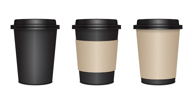 Realistic black mock up paper cups set with black plastic lid.