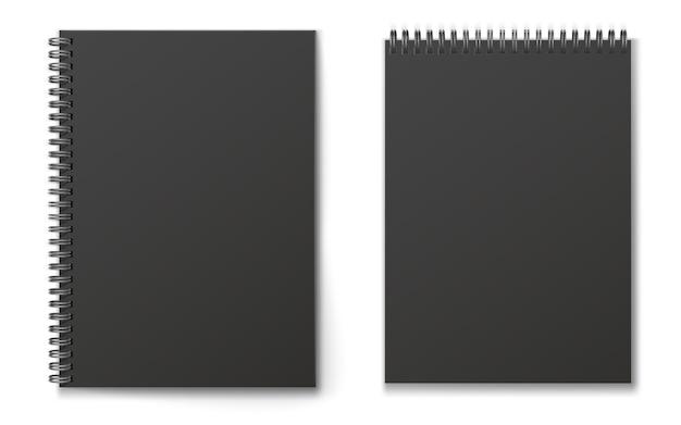 Реалистичные черный современный вертикальный закрыт реалистичные спиральные блокнот набор.