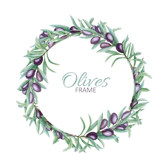 Realistic black olive tree branch leaves wreath, watercolor hand painted olives frame.
