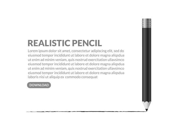 Реалистичный черный карандаш isoalted на белом фоне