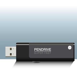 ベクトルペンドライブ正面図で作られた現実的な黒ペンドライブ