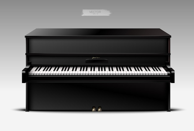 Realistic black piano on a light background.